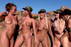 Five lesbian soldiers in action