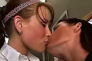 Lonely lesbians licking and fucking each other