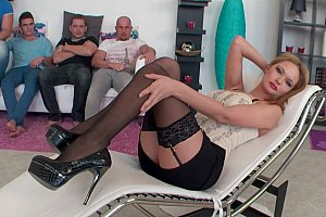 Pleasure hunting MILF collects cocks