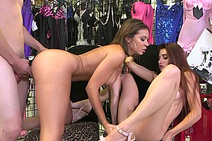 Threesome sex sells in a busy boutique